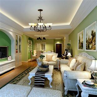 室内家装现代简约温暖黄色客餐厅