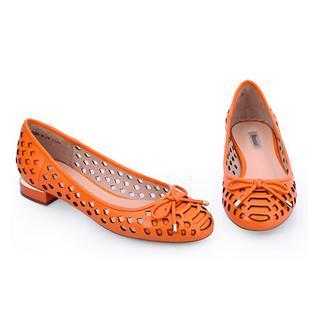 2014春季新款甜美凉鞋女 平跟镂空羊皮女鞋蝴蝶结凉鞋 超舒适