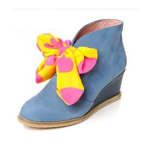 春季新品高帮真皮鞋蝴蝶结坡跟时尚女鞋潮