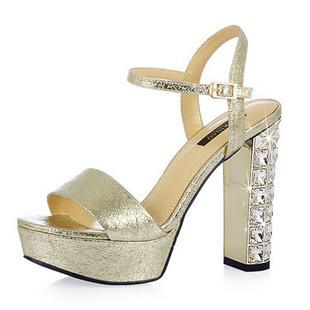 2013夏季爆裂纹牛皮水钻粗跟超高跟凉鞋