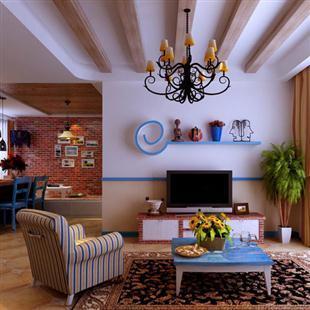 室内家装设计,田园地中海客厅装修
