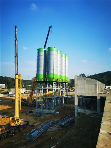 全钢结构顶置混凝土商混搅拌站