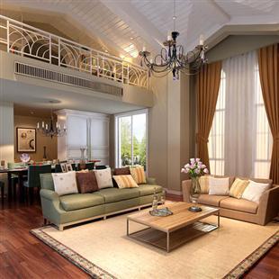 室内家装设计效果图,复式楼挑阁