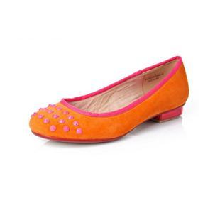 韩版潮羊反绒舒适平底圆头铆钉休闲平跟单鞋