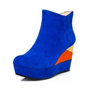 短靴2013秋冬新款休闲绒面坡跟超高跟真皮女靴子潮