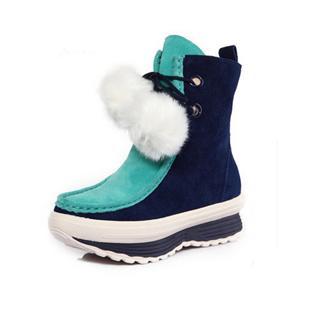 秋冬新款厚底女式鞋中筒靴休闲舒适韩版潮鞋