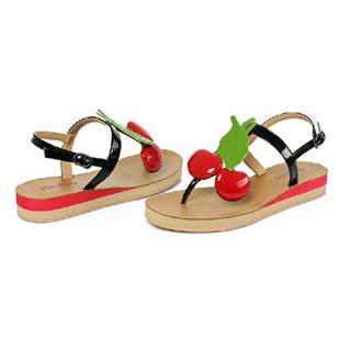 夏季新款平跟小樱桃凉鞋