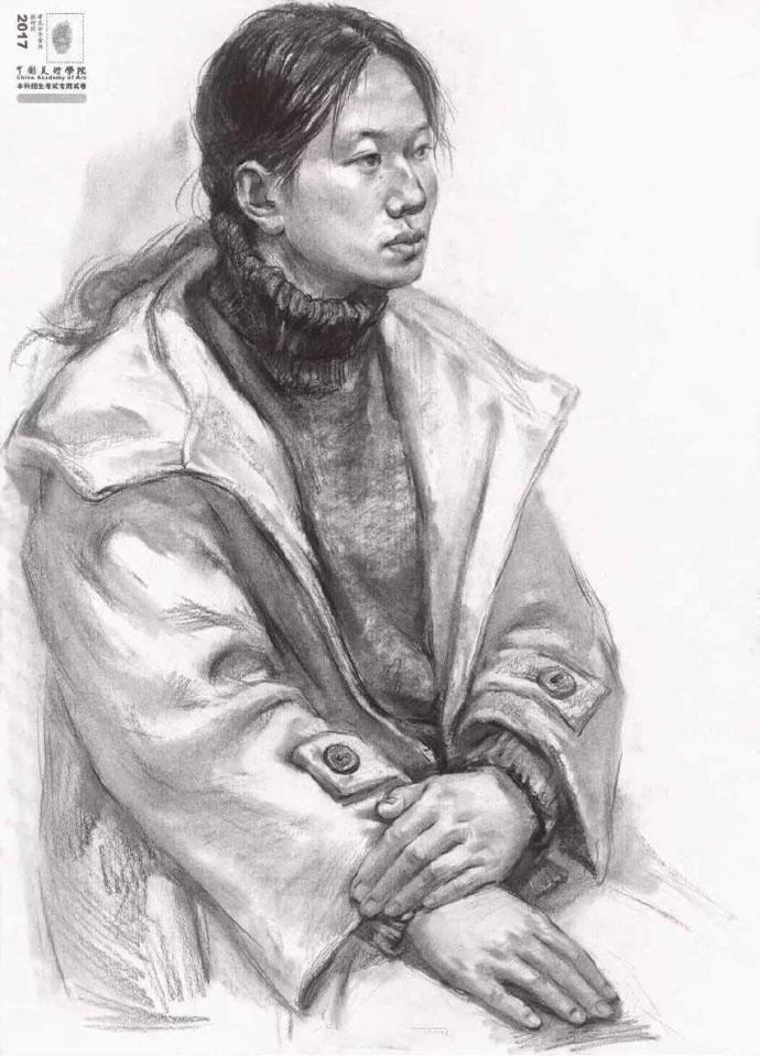 2017中国美术学院高分*** 素描半身像