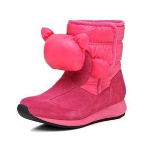 牛皮保暖靴低跟中筒靴 甜美休闲雪地靴