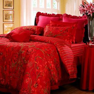 棉质床上用品婚庆四件