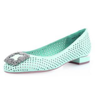 2014春季新款低跟甜美凉鞋女 镂空平跟羊皮女鞋 亮钻舒适凉鞋