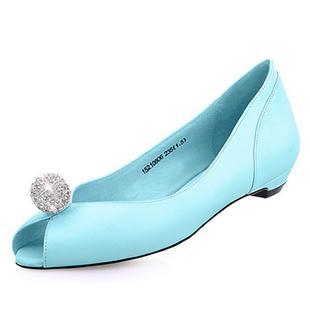 2014春季新款平底鱼嘴单鞋女平跟浅口水钻女鞋 羊皮舒适单鞋