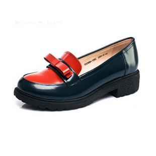 秋季新品单鞋欧美方跟牛皮复古拼色女鞋