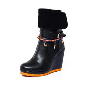 秋冬新品欧美风坡跟超高跟牛皮中筒靴